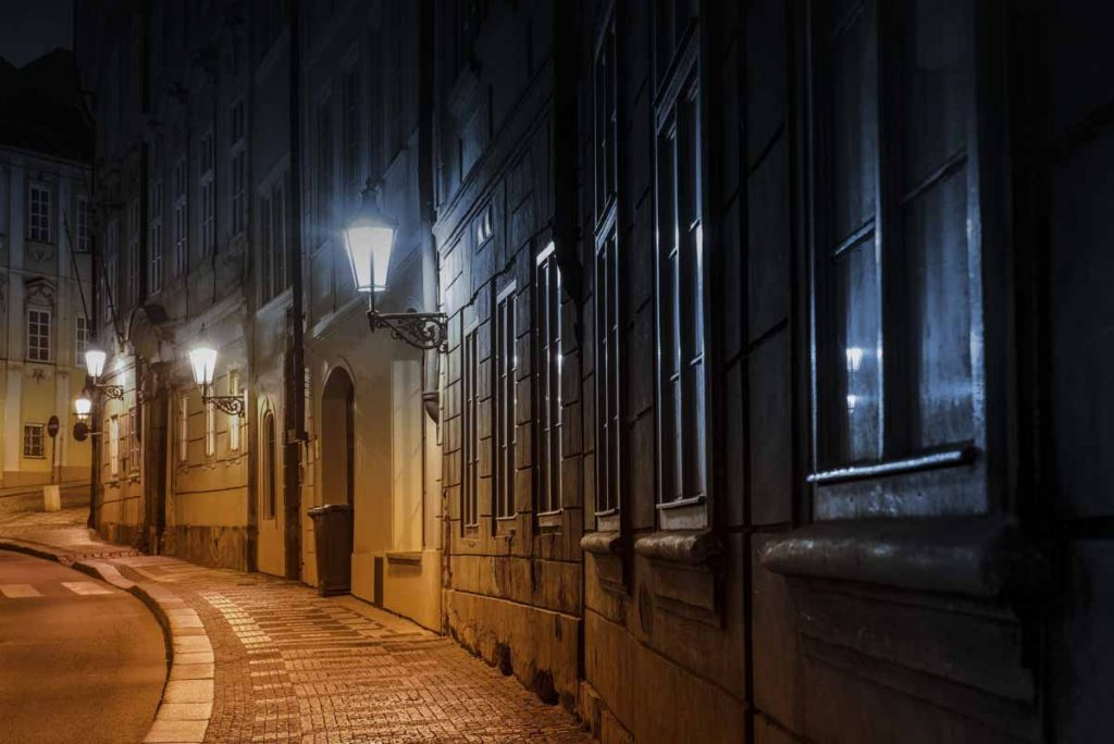 Prague Old Town Street at Night.