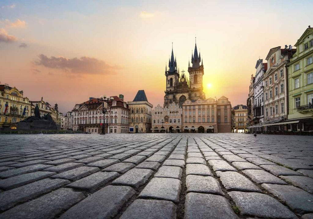 Staromestska square and Tynsky Temple in Prague at sunrise