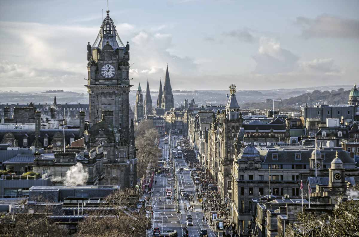 view of princess street edinburgh
